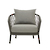 Click to swap image: <strong>Maui Sofa Chair-Shadow/Black - RRP-$2315</strong></br>Cushion cover Colour - Shadow</br>Cushion insert Material - Quick Dry Foam</br>Frame Colour - Black</br>Cushion cover Material - Sunproof Fabric</br>Weaving Material - 14mm Rope</br>Frame Material - Aluminium</br>Arm Height - 600mm Arm Height</br>Seat Height - 400mm Seat Height