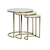 Click to swap image: <strong>Elle Rnd Nest S3-BshGold/White - RRP-$2450</strong></br>Top Finish - Matt Lacquer</br>Top Colour - White</br>Top Material - Carrara Marble (Italian)</br>Base Colour - Brushed Gold</br>Base Material - Stainless Steel