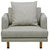 Click to swap image: <strong>Vittoria Iris Sofa Chair-Stone - RRP-$2149</strong></br>Arm Height - 630mm</br>Upholstery Configuration - Removable cover</br>Leg Colour - Natural</br>Upholstery Colour - Stone</br>Cushion Construction - Sofa Cushion Profile - Medium</br>Filling Material - Foam & Feather</br>Leg Material - Solid Ash</br>Upholstery Material - Fabric (100% Polyester)</br>Seat Height - 370mm seat height