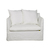 Click to swap image: <strong>Vittoria Slipcover 1 Str-Milk - RRP-$2929</strong></br>Cushion Construction - Sofa Cushion Profile - Soft</br>Upholstery Configuration - Removable Slip cover</br>Upholstery Material - Fabric (100% Linen)</br>Upholstery Colour - Milk</br>Filling Material - Foam & Feathers