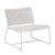 Click to swap image: <strong>Marina Sq Occ Ch-White/White </strong></br>Chair Max. Weight - 120kg</br>Frame Finish - Powdercoated</br>Frame Colour - White</br>Frame Stackable - No</br>Frame Material - Aluminium</br>Weaving Colour - Whiteshell</br>Weaving Material - Resin Straw