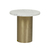 Click to swap image: <strong>Elle Pillar Side Tb-Gold/MtWhi - RRP-$1940</strong></br>Top Colour - White</br>Top Finish - Powdercoated</br>Base Material - Stainless Steel</br>Base Colour - Brushed Gold</br>Top Material - Carrara Marble (Italian)