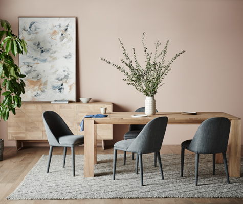Aiden Buffet, Aiden Dining Table, Millie Dining chair, Aura Arrow Rug LANDSCAPE UNCROPPED-7