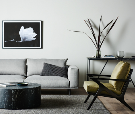 Vittoria Lewis Sofa, Vittoria Folk Chair, Elle Trestle console, Elle Block Round Coffee table